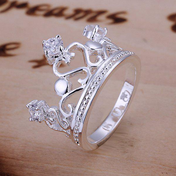 Gorgeous Rhinestone Channel Setting Crown Shape Ring