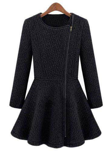 Solid Color Flouncing Round Collar Long Sleeve Zipper Worsted Stylish Women's Coat - DEEP BLUE XL