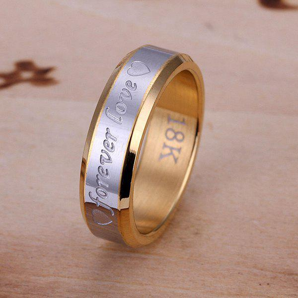 Charming Gold Plated Forever Love Print Ring -  US SIZE 8