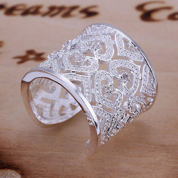 Luxurious Embellished Rhinestone Hearts Pattern Design Ring For Women