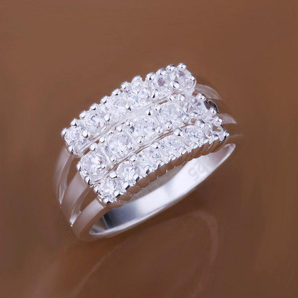 Channel Setting Rhinestone Three Lines Ring -  US SIZE 8