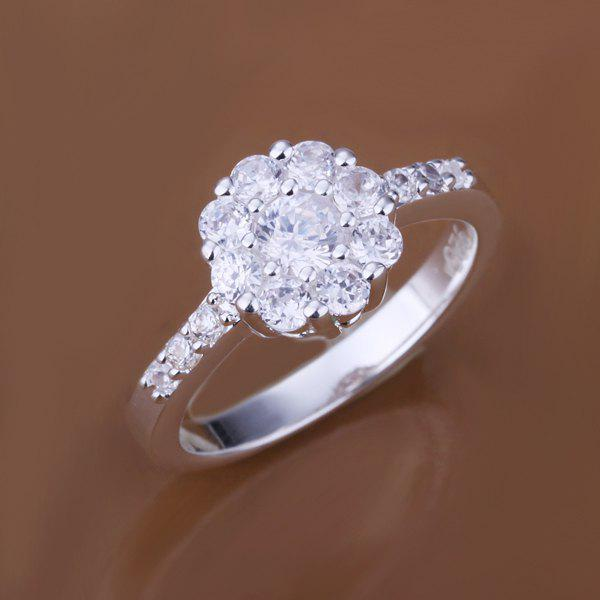 Sliver Plated Rhinestone Floral Ring -  US SIZE 8
