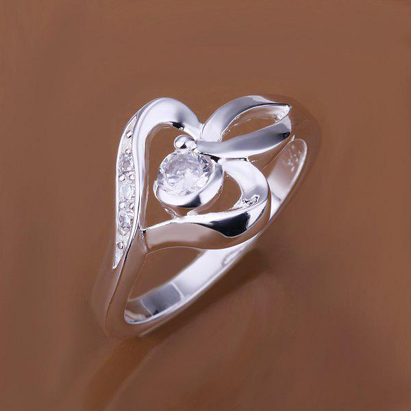 Fashionable Setting Diamond Heart Shape Ring -  US SIZE 8