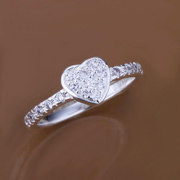 Sweet Single Heart Ring With Setting Diamond -  US SIZE 8