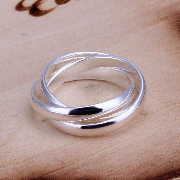 Fashionable Silver Plated Three Circles Ring For Wedding - US SIZE 8