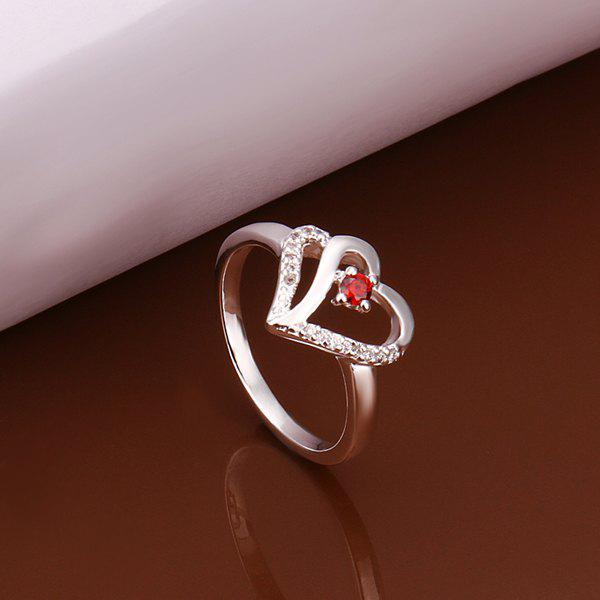 Charming Red Rhinestone Openwork Heart Ring For Women