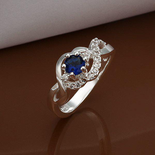Trendy  Embellished  Blue Rhinestone Ring For Wedding