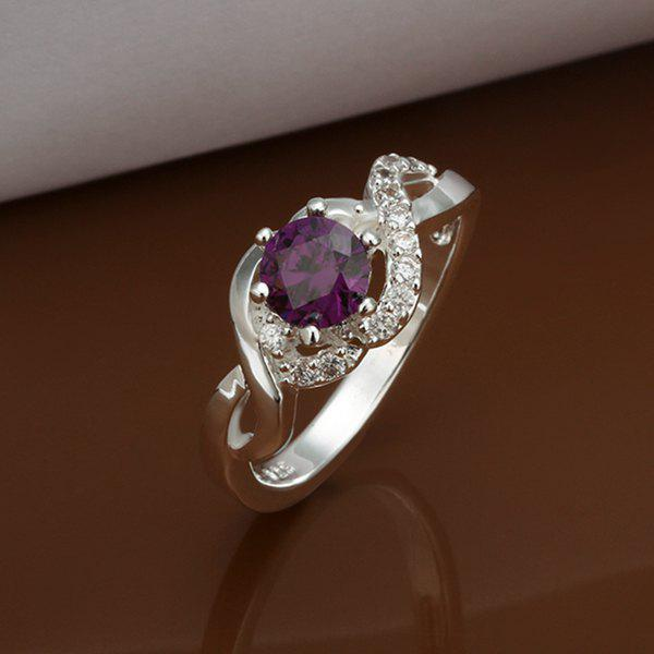 Faux Amethyst Silver Plated Ring -  US SIZE 8