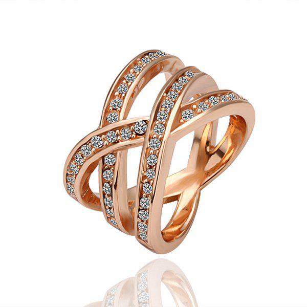 Rose Gold Plated Braid Alloy Ring -  US SIZE 8