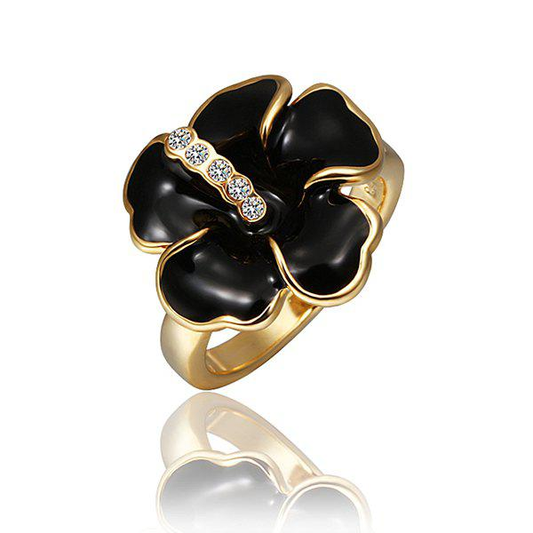 Trendy Environmental Alloy Black Stoving Varnish Crystal Ring For Women -  US SIZE 8