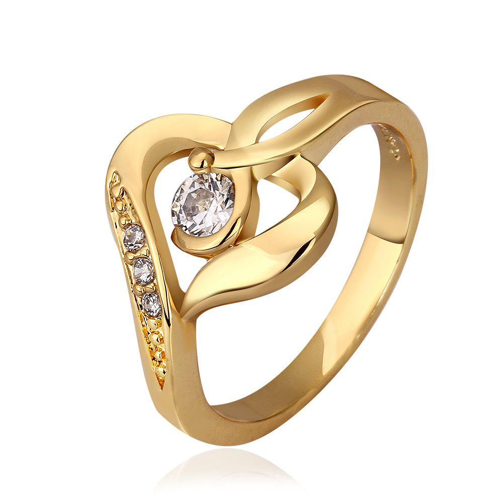 Trendy Plated Gold Rhinestone Openwork Pattern Ring For Women