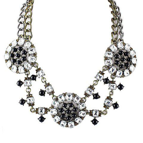 Stunning Chic Women's Rhinestoned Round Pendant Necklace - AS THE PICTURE