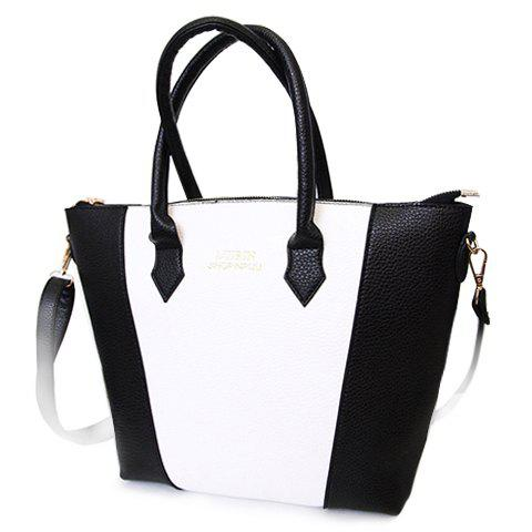 Fashion PU Leather and Letter Print Design Tote Bag For Women - WHITE