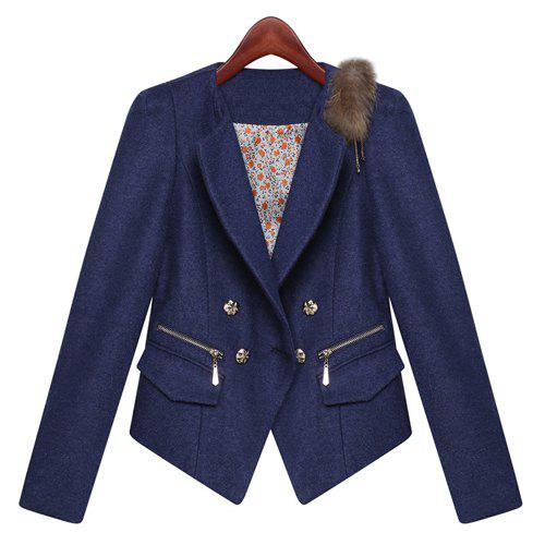 Stylish Turn-Down Collar Long Sleeve Faux Fur Splicing Worsted Women's Jacket