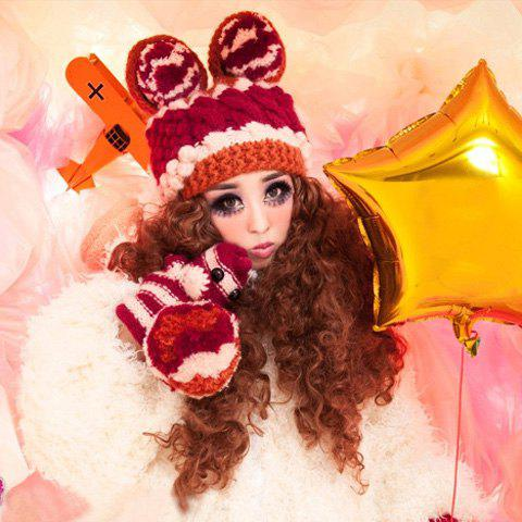 A Set of Women's Cute Round Animal Ear Shape Decorated Knitted Hat and Gloves
