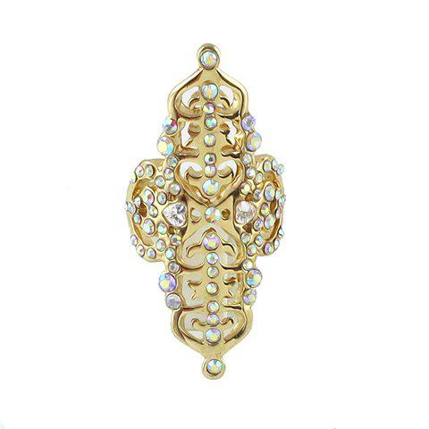 Alloy Hollow Out Rhinestone Embellished Ring - GOLDEN ONE-SIZE