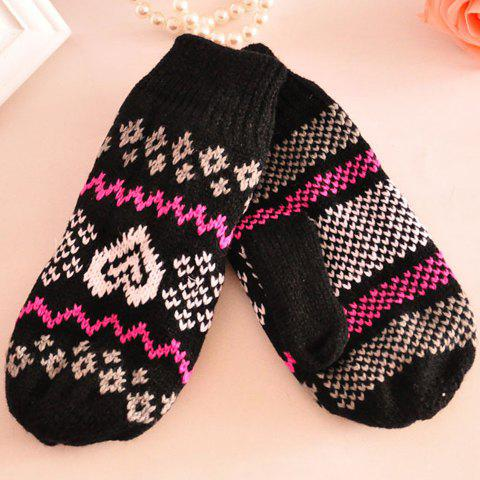 Pair of Chic Heart and Wave Pattern Color Block Knitted Gloves For Women - COLOR ASSORTED