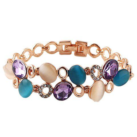 Sweet Cute Women's Faux Opal Colored Rhinestone Bracelet - COLORMIX
