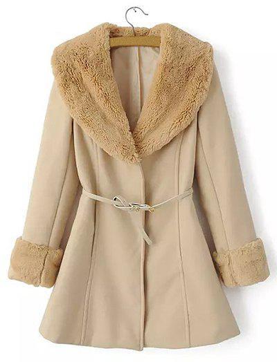 Ladylike Turn-Down Collar Faux Fur Solid Color Long Sleeve Worsted Coat with Belt For Women - KHAKI L