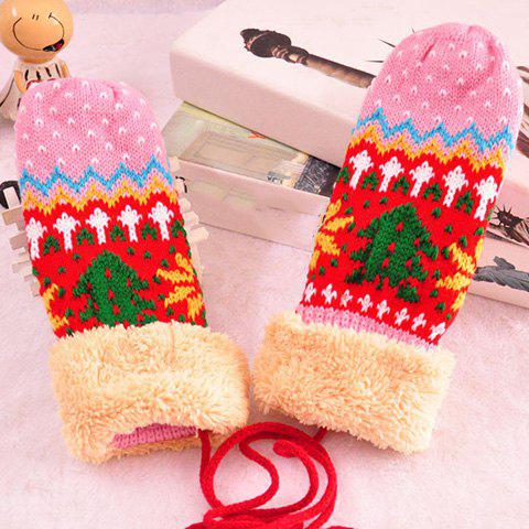 Pair of Chic Christmas Tree and Wave Pattern Knitted Gloves with Rope For Women