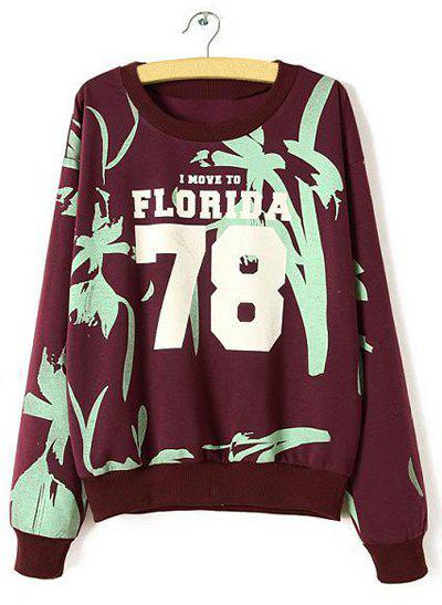 Brief Letter Print Round Neck Long Sleeve Sweatshirt For Women - AS THE PICTURE M