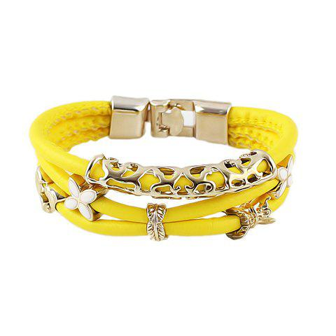 Simple Design Candy Color Multi-Layered Women's Bracelet - YELLOW