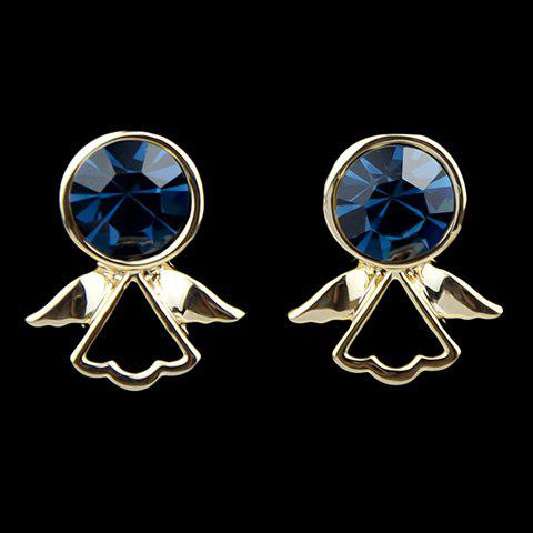 Pair of Faux Gemstone Embellished Angell Shape Stud Earrings - AS THE PICTURE