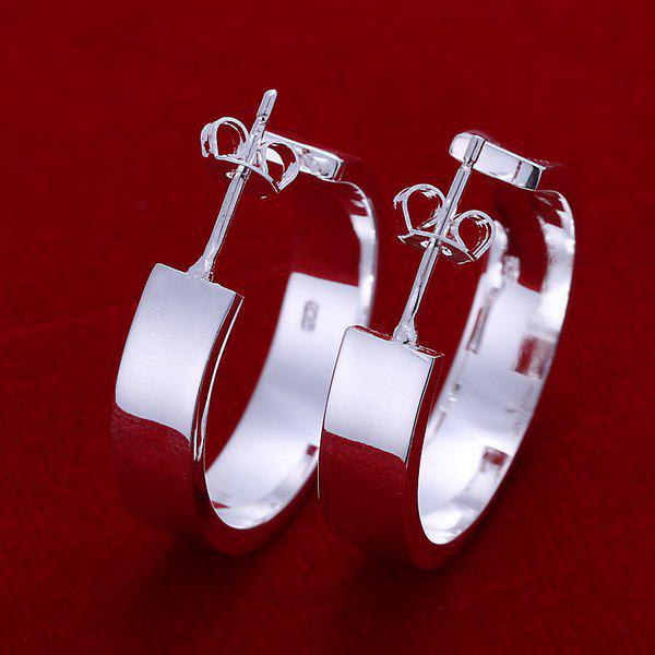 Pair of Plated Hoop Earrings -  3.0X0.8CM