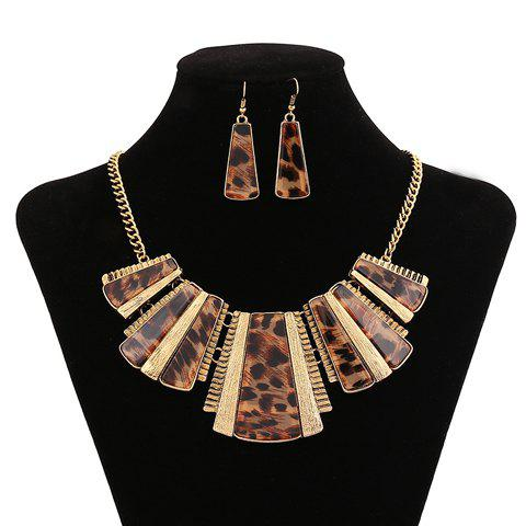 Characteristic Special Design Leopard Geometric Pendant Necklace With A Pair of Earrings For Women - GOLDEN