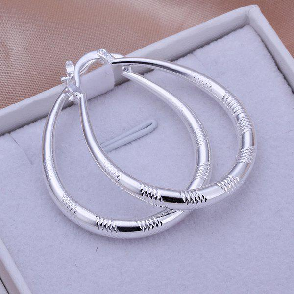Engraved Alloy Hoop Earrings -
