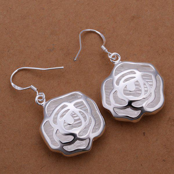Pair of Romantic Hollow Out Rose Earrings