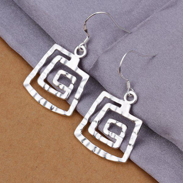 Pair of Hollow Out Square Dop Earrings -