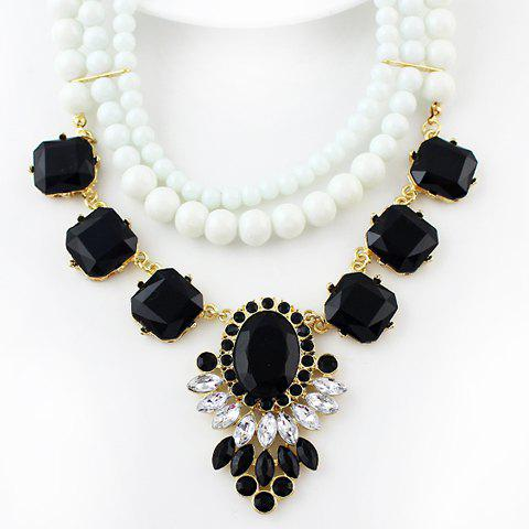 Charming Beads and Faux Gemstone Embellished Pendant Necklace For Women - WHITE