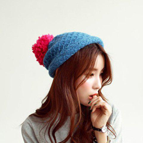 Chic Net Pattern Yarn Ball Decorated Women's Knitted Hat - COLOR ASSORTED
