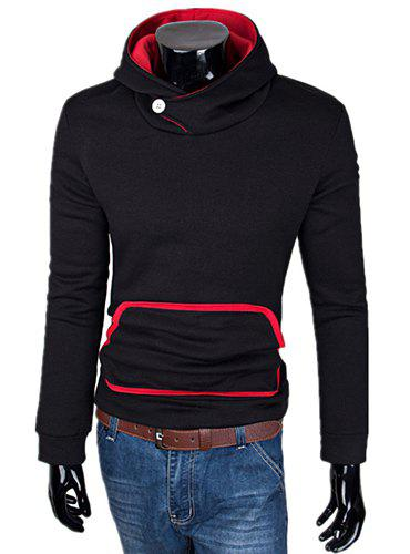 Laconic Color Splicing Slimming Fashion Hooded Design Long Sleeves Men's Hoodie - BLACK XL