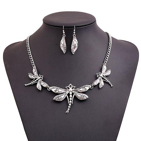 A Suit of Chic Fashion Women's Dragonfly Pendant Necklace And Earrings - AS THE PICTURE