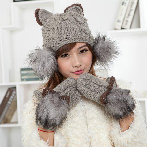 Chic Cat Shape and Downy Ball Decorated Hemp Flower Pattern Women's Knitted Hat - AS THE PICTURE