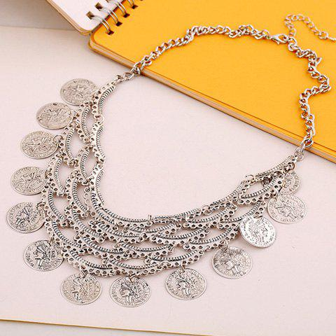 Retro Chic Women's Layered Round Tassel Pendant Necklace - SILVER
