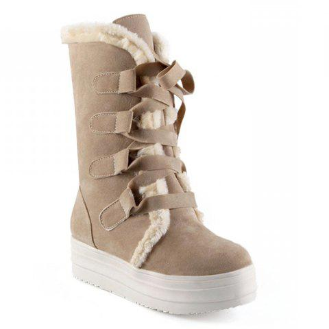 Fashion Platform and Lace-Up Design Women's Snow Boots