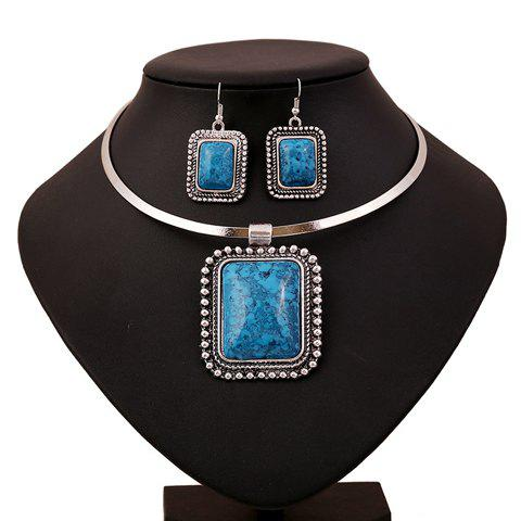A Suit of Faux Gem Geometric Necklace and Earrings - BLUE