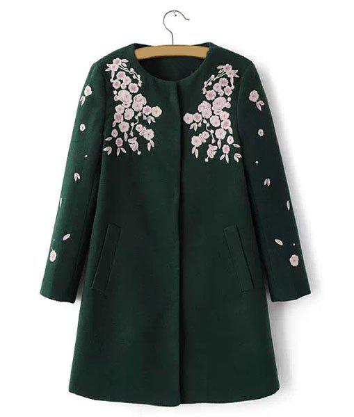 Floral Embroidery Round Collar Long Sleeve Worsted Trendy Style Women's Coat - BLACKISH GREEN L