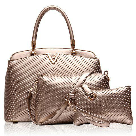 Fashionable Checked and PU Leather Design Tote Bag For Women - GOLDEN