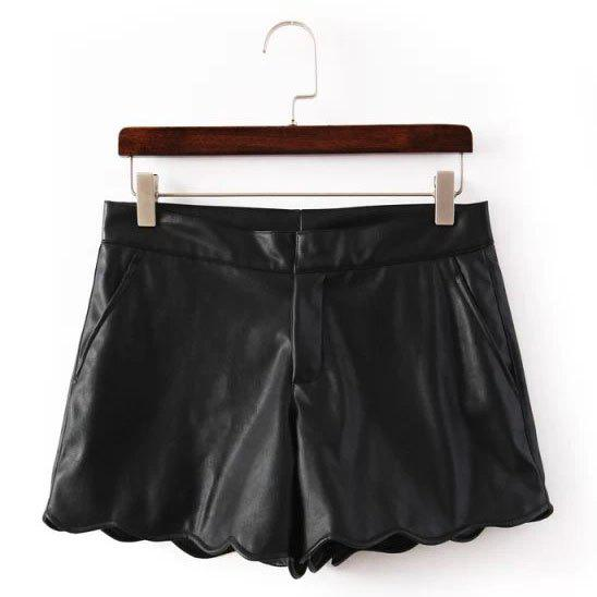 Faux Leather Solid Color Wavy Hem Wide Leg Trendy Style Women's Shorts - BLACK M