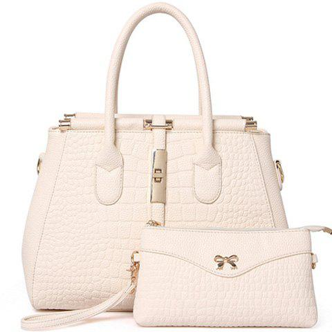 Fashion Hasp and Crocodile Print Design Tote Bag For Women - WHITE