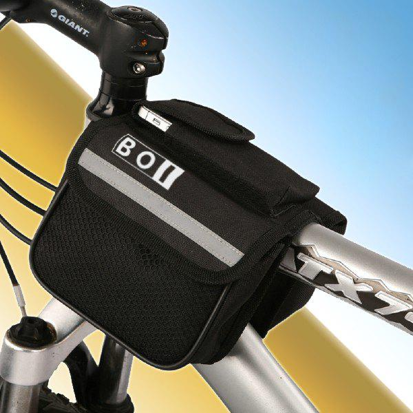 BOI Multiple Pocket Saddle Bag Phone Pack Mountain Bike Bicycle Motorcycle Accessories - BLACK