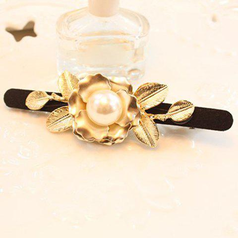 Chic Faux Pearl Embellished Flower Shape Women's Hairpin - BLACK