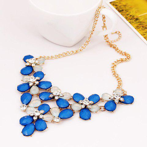 Characteristic Faux Gem Embellished Flowers Pendant Necklace For Women - SAPPHIRE BLUE