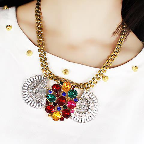 Exquisite Faux Gem Embellished Pendant Necklace For Women - COLORMIX