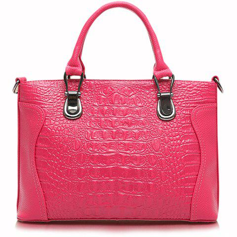 Mature PU Leather and Crocodile Print Design Tote Bag For Women - PLUM