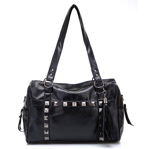 Fashion Tassels and Rivets Design Shoulder Bag For Women - BLACK